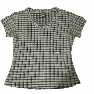 Columbia Plaid Printed Short Sleeve Top